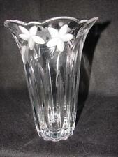 Vase ~ Mikasa Crystal Glass Vase with Etched Flowers ~  Crystal Glass Vase