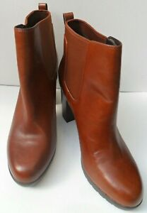 Women's New Clarks Brown Leather Pull On Ankle Boots - Size UK 7 D EUR 41