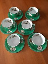 Rare Vintage Royal Rudolstadt Tea Cups - Painted Porcelain ,Asiatic Bird Pattern