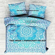 Indian Green New Ombre Mandala Duvet Doona Cover King Size Comforter Quilt Cover