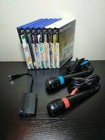 Singstar PS2 Microphones and 8 Singstar Games Bundle for PlayStation 2 Complete!