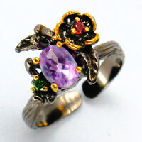 Outstanding Art! Natural Amethyst 9x7mm. 925 Sterling Silver Ring / RVS83