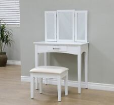 Vanity Table Makeup Desk Set Cosmetic Dressing 3 Mirror Top With Drawer Stool