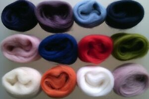 Set A*  Pure Merino Wool Tops for Felting packs of 12 colours, 60 g