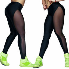 Women Mesh Sheer Sport YOGA Leggings Workout Gym Fitness Pants Athletic Trousers