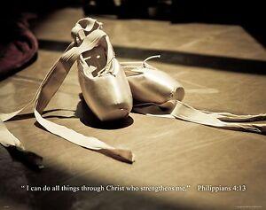 Ballet Dance Inspirational Poster Print Kids Shoes Flats Tutu Wall Artwork Decor