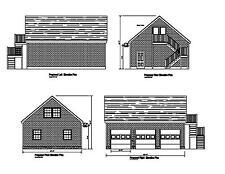 24'X32' Gable Garage Shop Plan 32'X24' Barn Garage Prints #17-2432Gbl-1