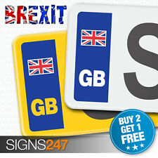 GB CAR NUMBER PLATE STICKERS UNION JACK NO EU FLAG BREXIT - Vinyl Car Stickers
