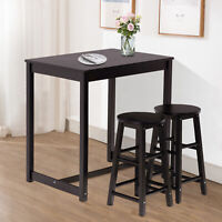 3 PCS Pub Dining Table Set w/Stool Pine Wood Kitchen Furniture Dining Room Black