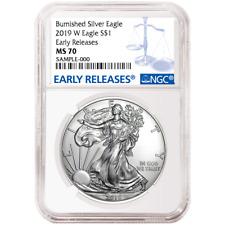 2019-W Burnished $1 American Silver Eagle NGC MS70 Blue ER Label