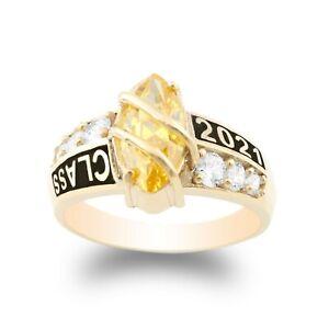 Jamesjenny  14K Yellow Gold Marquise Sapphire CZ Beautiful Band Ring Size 4-10