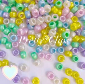 3 For 2 X100 Pearl Pastel MIX 9 X 6mm PONY BEADS FOR CRAFTS