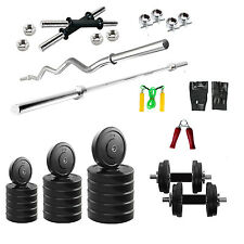 Fitfly Home Gym Set 24 Kg Weight Plates 5Ft Plain  3Ft Curl Rod Gloves Dumbbells