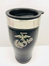 USMC MARINES Stainless Steel BLACK Coffee Travel Mug Thermos 14oz Custom Logo