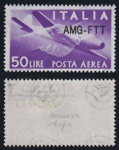 1954 Trieste A Posta Aerea 50 L. violetto 22A nuova soprast. MNH** g.i. firmato