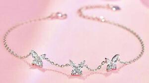 925 Sterling Silver Crystal Butterfly Charm Linked Bracelet Women Jewellery Gift