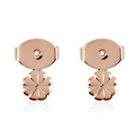 925 Sterling Silver 14K Rose Gold Plated Flower Ear Nut Jewelry Gift for Women