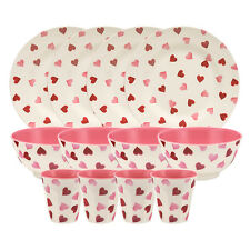 Unique Emma Bridgewater Pink Hearts 12 Piece Melamine Set Bowls Plates Beakers