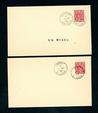 St Lucia  1958 La Clery and Grace New PO   Postmarks  (2)    (J533)