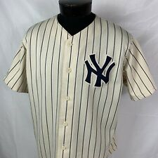 Vintage New York Yankees Jersey MLB Baseball Sewn Gold 90s USA Team Button Large