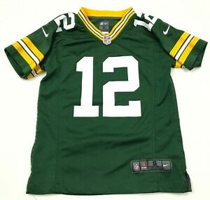 Nike Aaron Rodgers Green Bay Packers Football Jersey Youth Small S Green Yellow