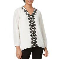 ALFANI NEW Women's Long Sleeve Lace Trim V Neck Blouse Shirt Top TEDO