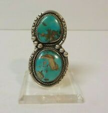 Vintage Sterling Silver Double Turquoise SW Ring, Size 7.5