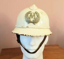 More details for original 1920s belgian pressed fibre white gloss adrian police helmet - obsolete