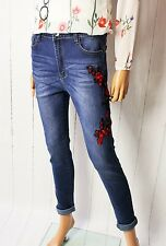 Denim vaqueros pantalones Super Stretch talla 38-40 USADO Floral Azul NUEVO