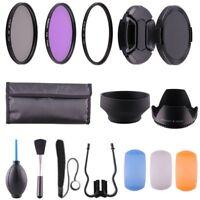 77MM UV CPL Polarizer FLD + Clean Kit + Lens Hood Cap for Canon Nikon DSLR 77mm