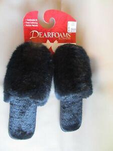 NWT Dearfoams Slip On Scuffs black Faux Fur  Misses  M  6.5 / 7.5   NEW