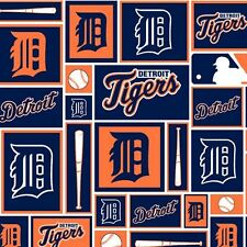 Detroit Tigers MLB Block Cotton  60' Fabric Sold by the Yard