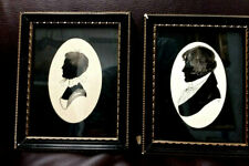 "Antique Pair Silhouette Drawings Signed ""Lf"" Man & Woman Nicely Framed 4.5X5.5"""