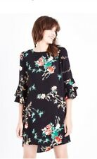 New Look - Cameo Rose Black Floral Print Shift Dress - Size 8 - BNWT