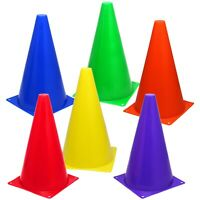 """6 Assorted Color 9"""" Cones Train Training Soccer Football Agility Traffic Marker"""