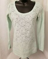 Express Womens Green Floral Lace Style Semi Sheer Shirt Top Blouse Size S