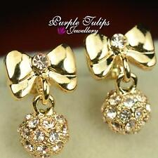 9CT Gold Plated Bowknot&ball Dangle Stud Earrings Made With Swarovski Crystals