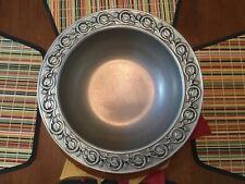 ROYAL WILTON PEWTER CIRCULAR CASSEROLE PAN DISH Leaf Design 🍃 Cold Salad Bowl !