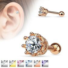 Crown GEM Studs EAR CARTILAGE Rings Helix Tragus Conch Barbells Piercing Jewelry