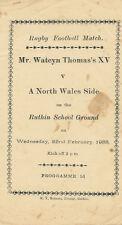 Mr WATCYN THOMAS XV v A NORTH WALES SIDE 1933 RUGBY PROG at RUTHIN SCHOOL, WALES