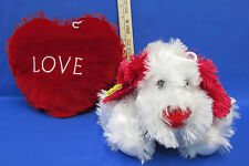 Pastel Pooch Plush Dog Puppy w/ Heart Nose & Valentine Red Heart Pillow Lot of 2