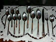 Mixed lot Rogers 1847 First Love silverplate spoons, knife, salad fork 13 pieces