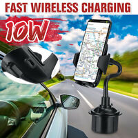 Car Qi Wireless Charger Phone Cup Holder Mount Bracket Fast Charging
