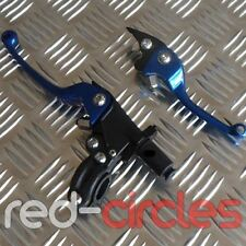 BLUE QUICK ADJUST CNC PIT BIKE FOLDING CLUTCH & BRAKE LEVER SET