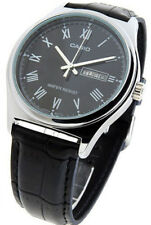 Casio Men's Analog Quartz Black Dial Leather Watch MTPV006L-1B