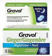 Gravol Ginger Nighttime Tablets 16 Anti Nausea with Melatonin From Canada
