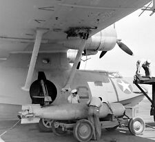 WW2  Photo WWII US Navy PBY Catalina Torpedo  Loading  World War Two USN /5244
