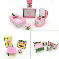 Doll House Miniature Bedroom Wooden Furniture Sets Kids Role Pretend Play Toy lc