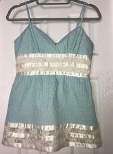 Betsey Johnson Babydoll Tank Top Light Blue W/Cream Lace Lined Sz 4 NWOT