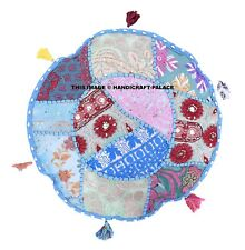 """Indian Patchwork Round Floor Pillow Cushion ottoman Pouf Cover Home Decor 16"""""""